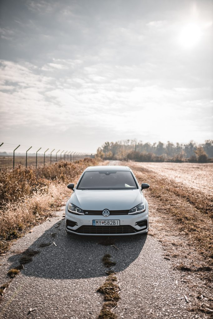 Volkswagen Golf outside on a road