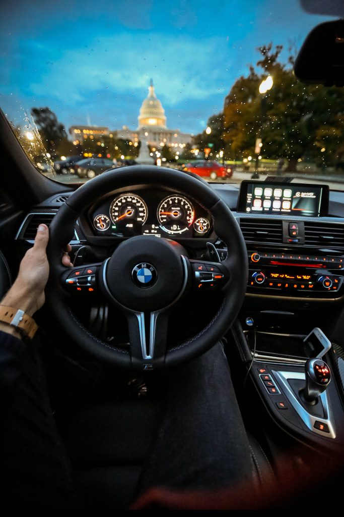 Interior view while driving a BMW 3 Series
