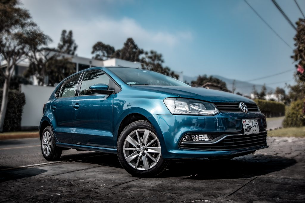 Deep blue Volkswagen Polo rated number 8 car in the UK