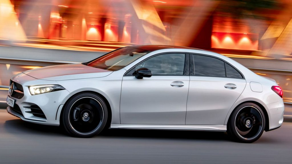 Silver Mercedes A-class outside on the road driving