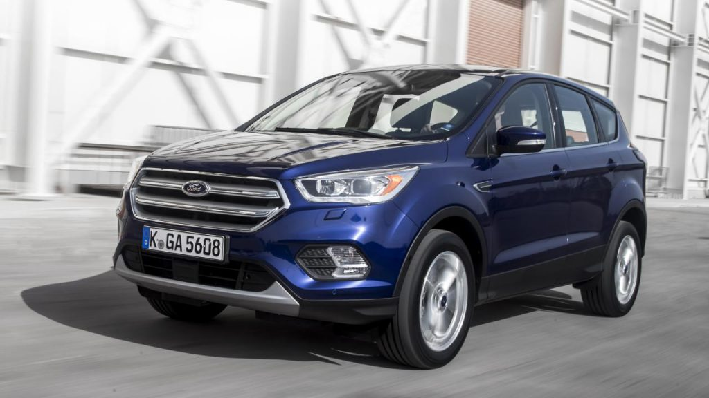 Blue Ford Kuga on the road again after a windscreen replacement