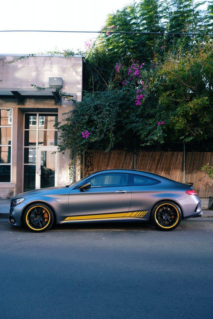 Sporty Mercedes C-Class outside