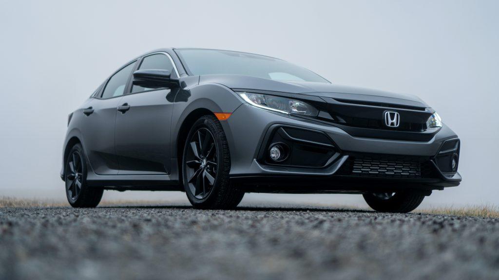 Grey Honda Civic outside