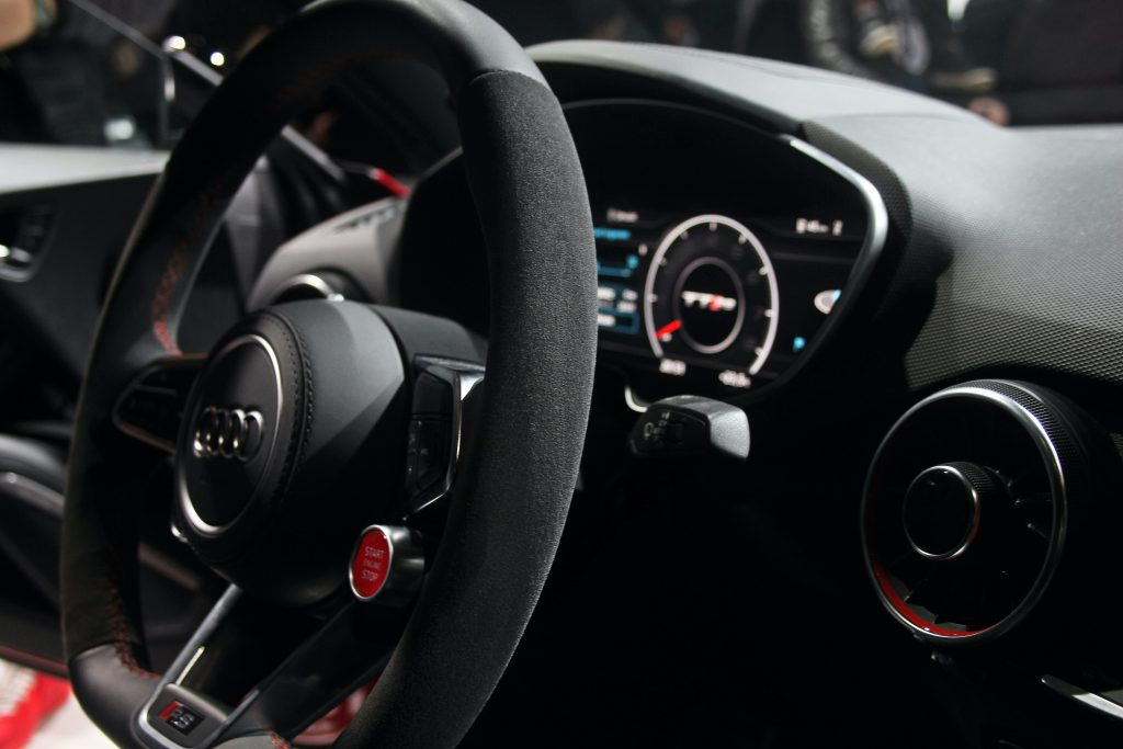 interior shot with steering wheel