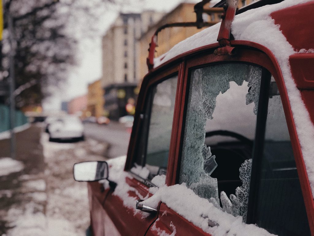 shattered car glass from the cold