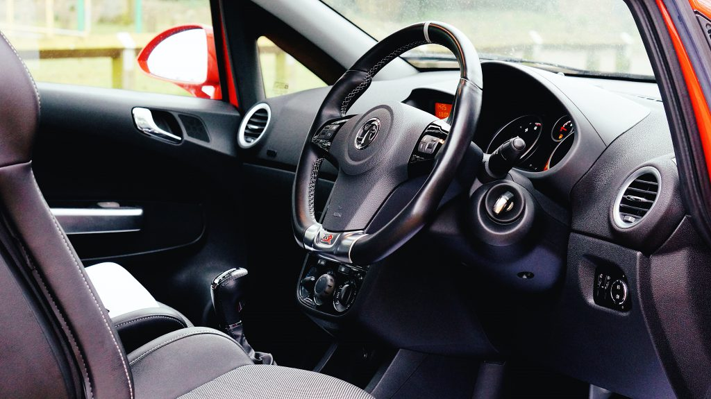 Interior shot with steering wheel